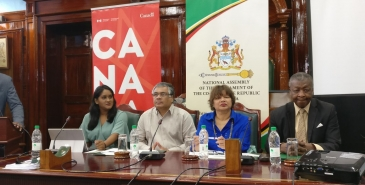 L-R: GPA President, Nazima Raghubir; Executive Member of the Association of Caribbean Media Workers, Wesley Gibbins; Canadian High Commissioner to Guyana, Lilian Chatterjee; and Speaker of the National Assembly, Dr Barton Scotland