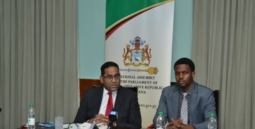 Commonwealth Parliamentary Association (CPA) Secretary-General, Akbar Khan and acting PRO for Parliament, Yannick December.