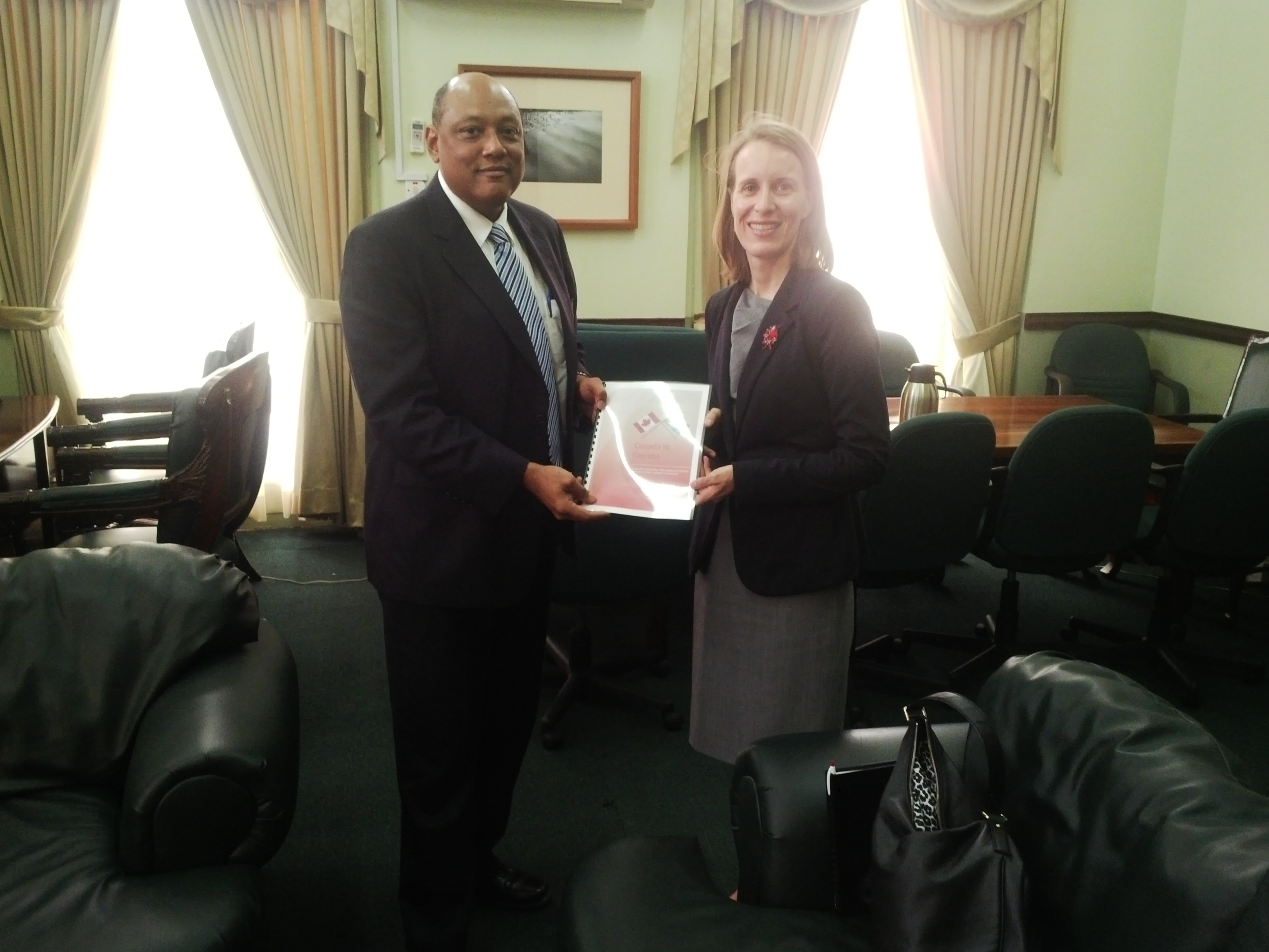 Speaker receives copy of a review of the partnership between Guyana and Canada
